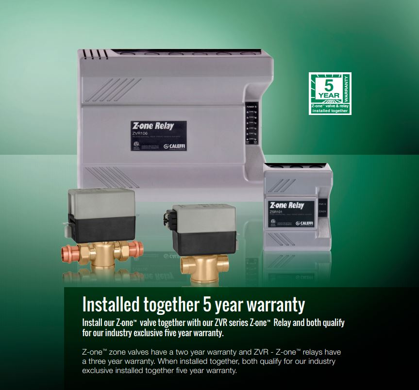 Caleffi ZSR and ZVR warranty