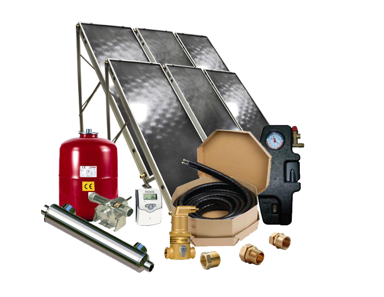 solar pool heater with flat plate collectors