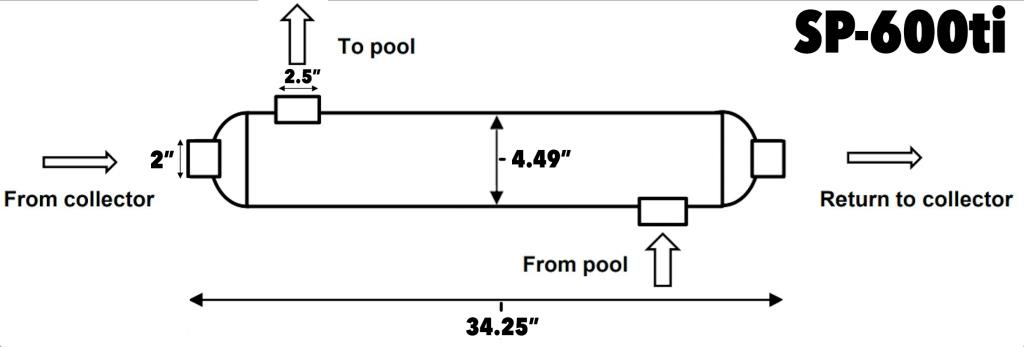 600k titanium pool heat exchnager dimensions