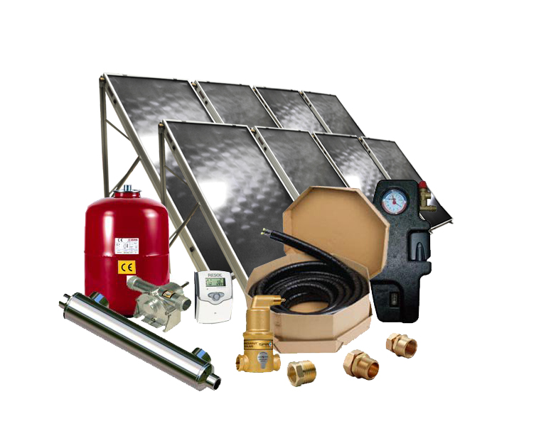 Solar pool heating package with flat plate collectors