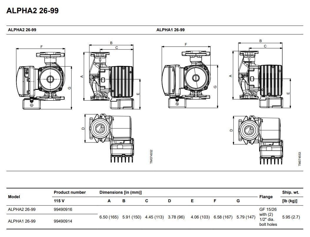 Grundfos Alpha2 26-99FC Dimensions