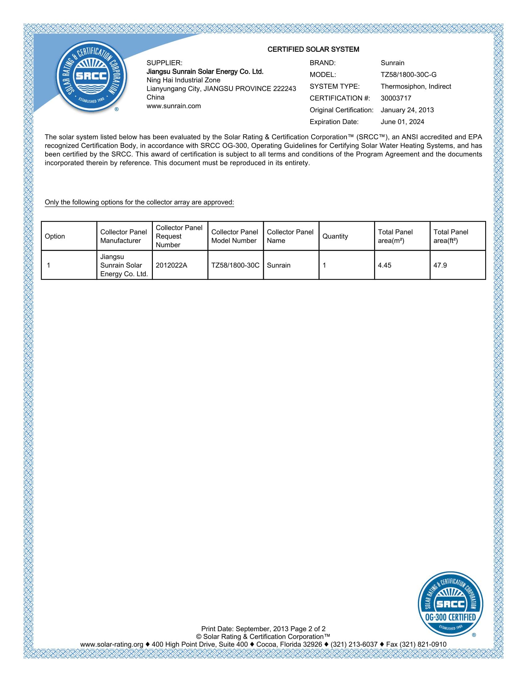 SRCC 30g Report