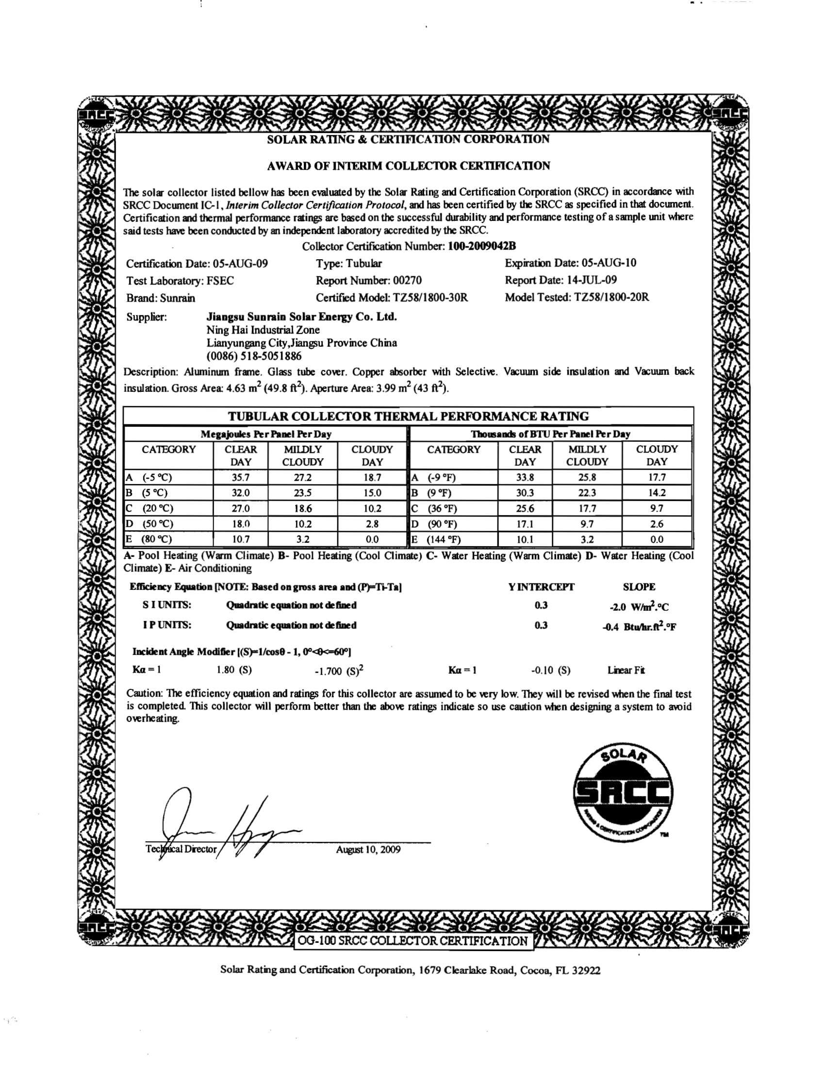 SRCC TZ58 1800 20R Certification Dec 2013