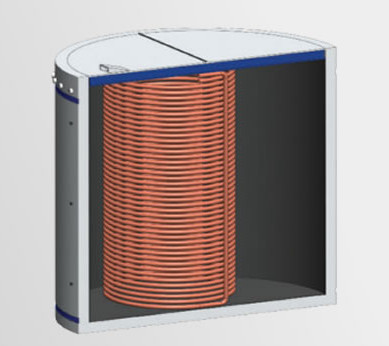 commercial storage with internal heat exchanger
