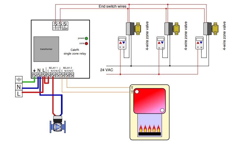 Caleffi ZSR 101 multiple thermostat diagram