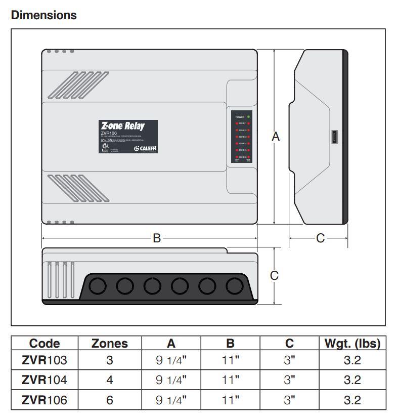ZVBR10x Dimensions
