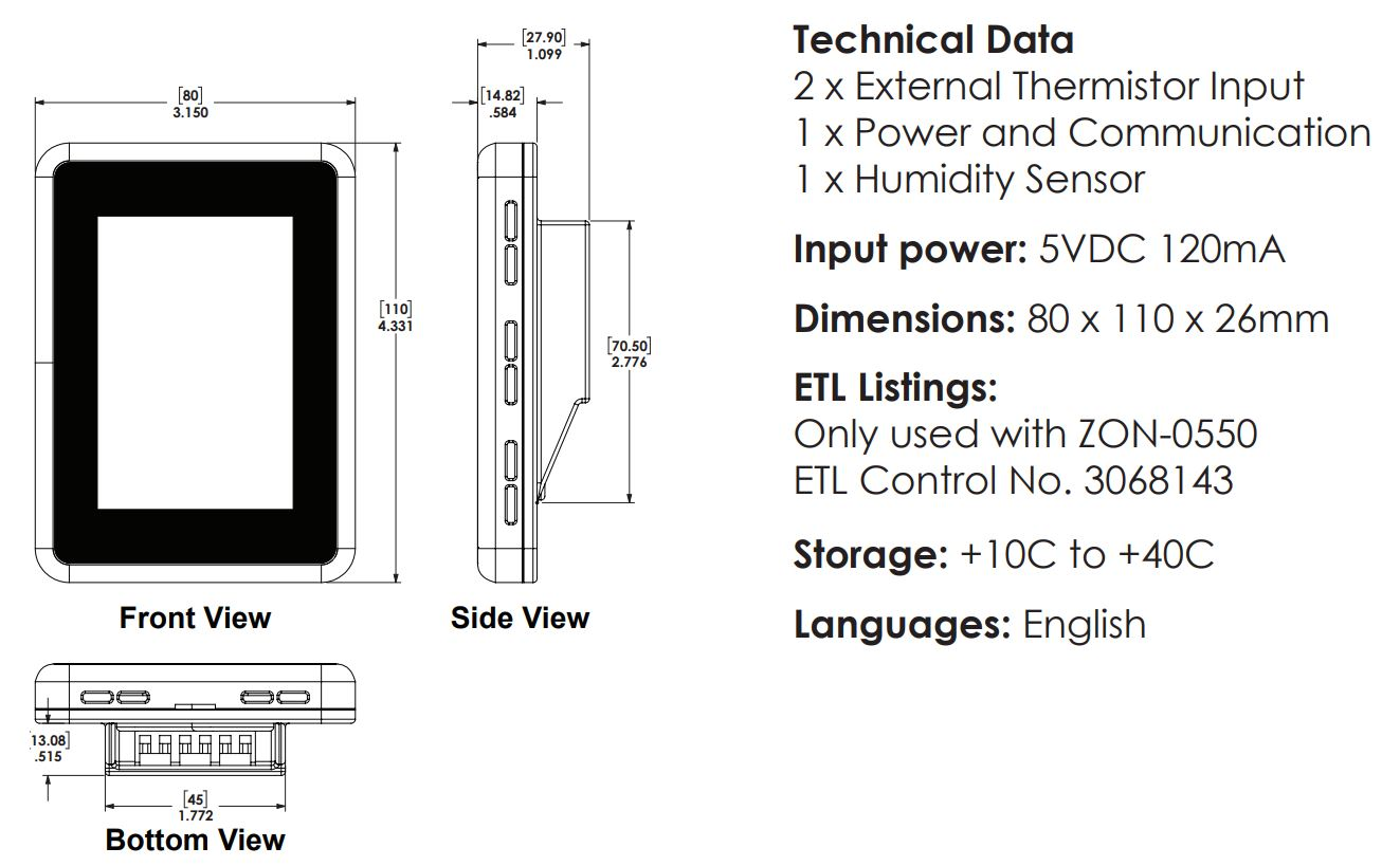 HBX THM-0500 Tech data and dimensions