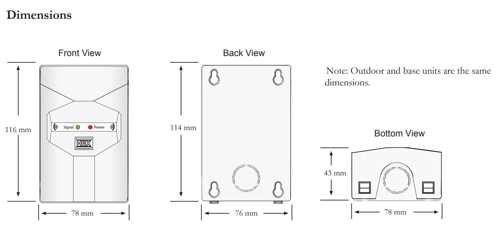 HBX WAV-0110 Dimensions