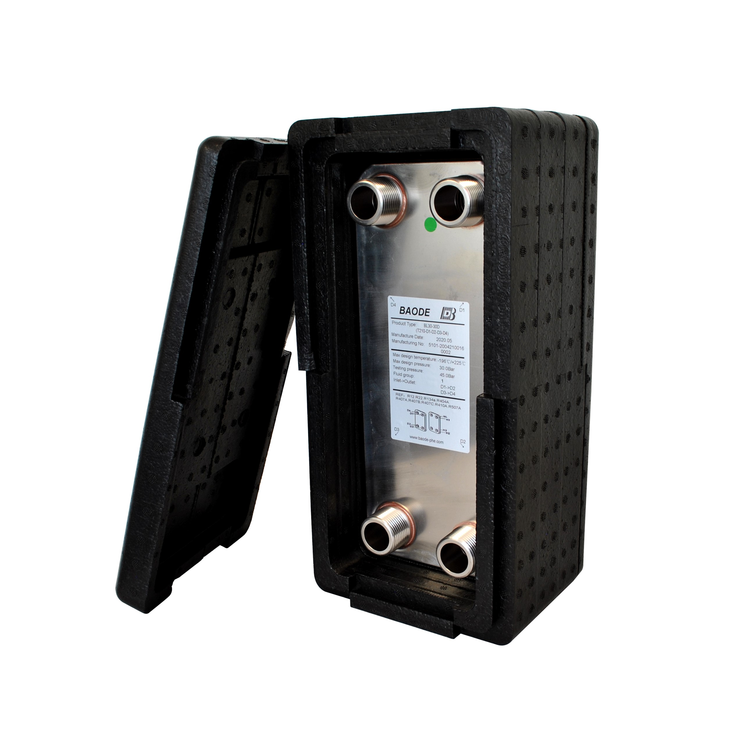 Baode BL26C-30 plate heat exchanger with insulation