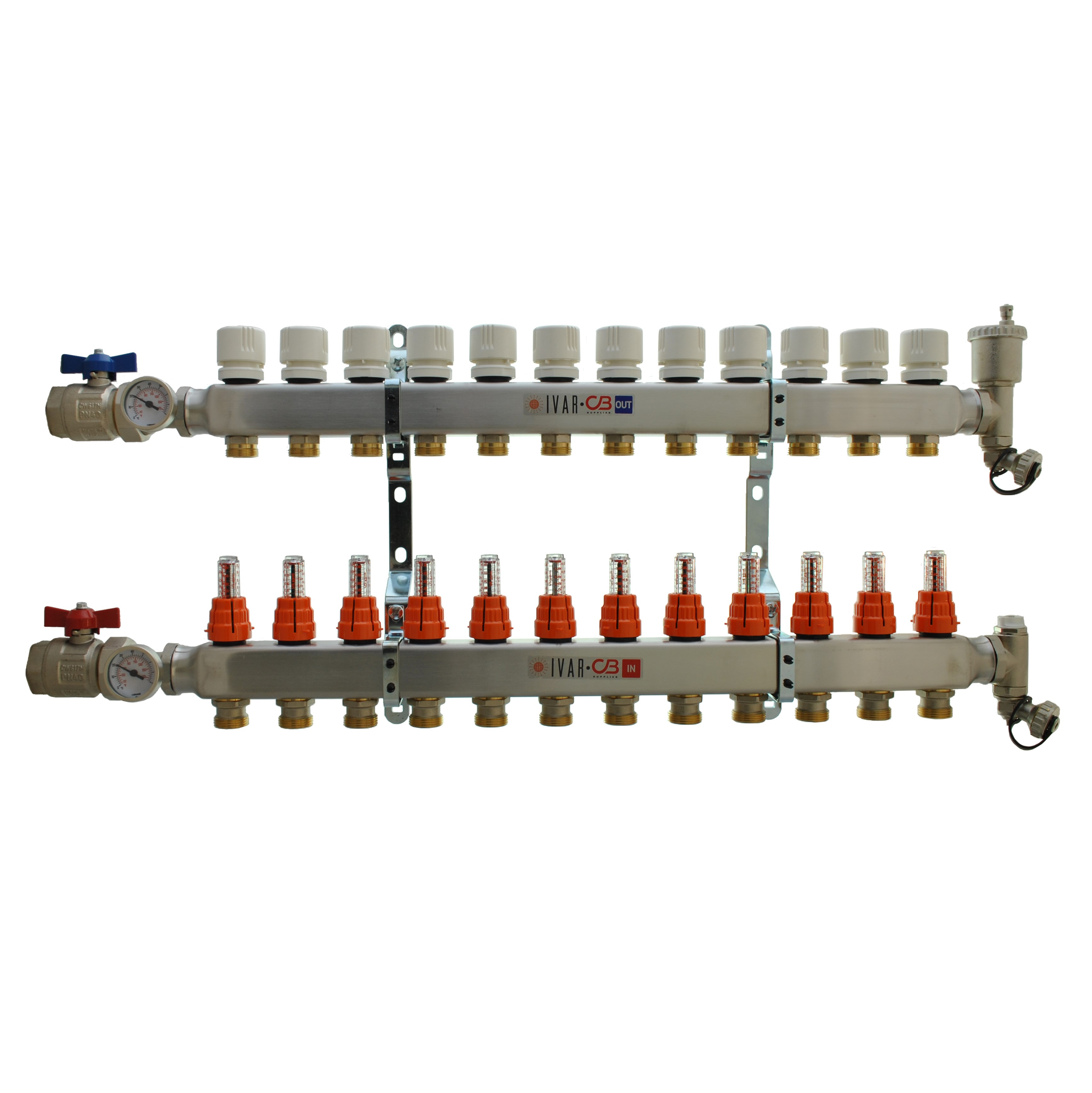 "1"" IVAR Stainless Steel Hydronic Manifold for Radiant Floor Heating - 12 ports"