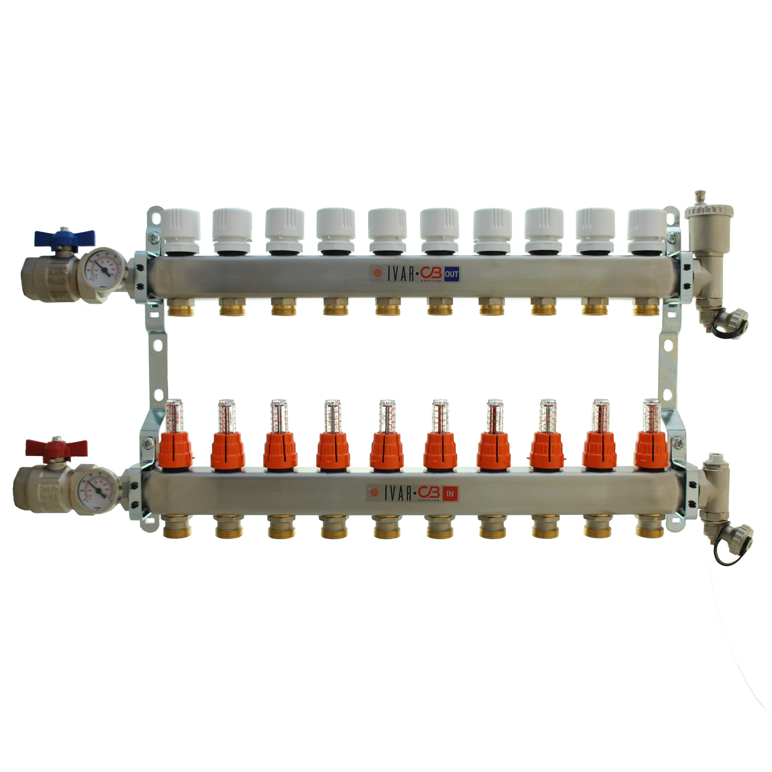 "1"" IVAR Stainless Steel Hydronic Manifold for Radiant Floor Heating - 10 ports"
