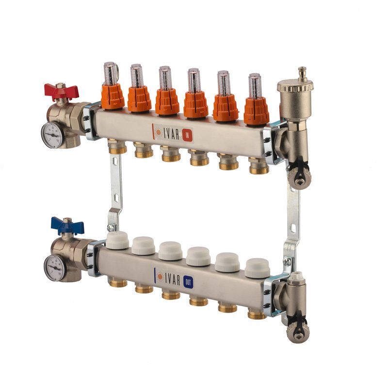 "1"" IVAR Stainless Steel Hydronic Manifold for Radiant Floor Heating - 9 ports"