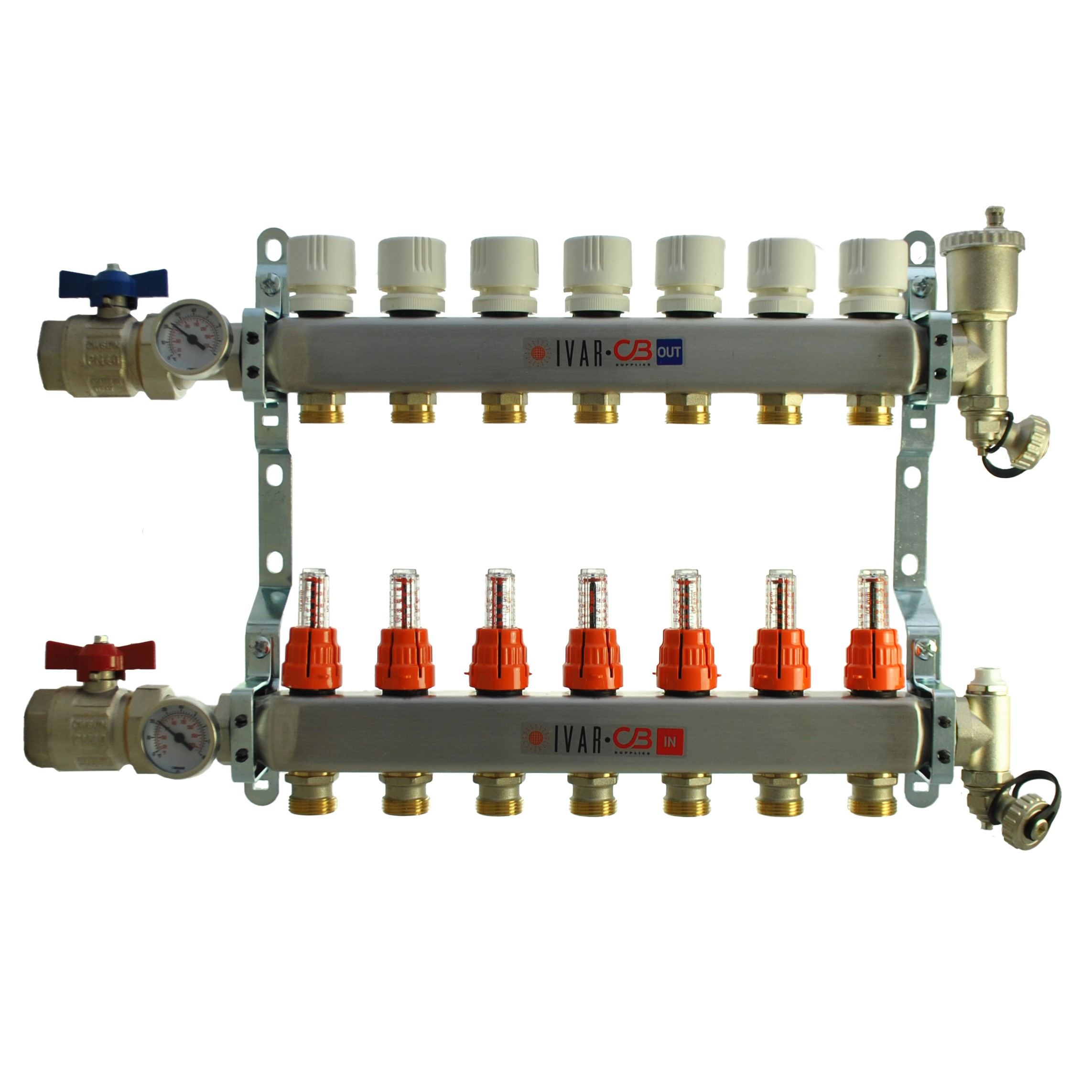 "1"" IVAR Stainless Steel Hydronic Manifold for Radiant Floor Heating - 7 ports"