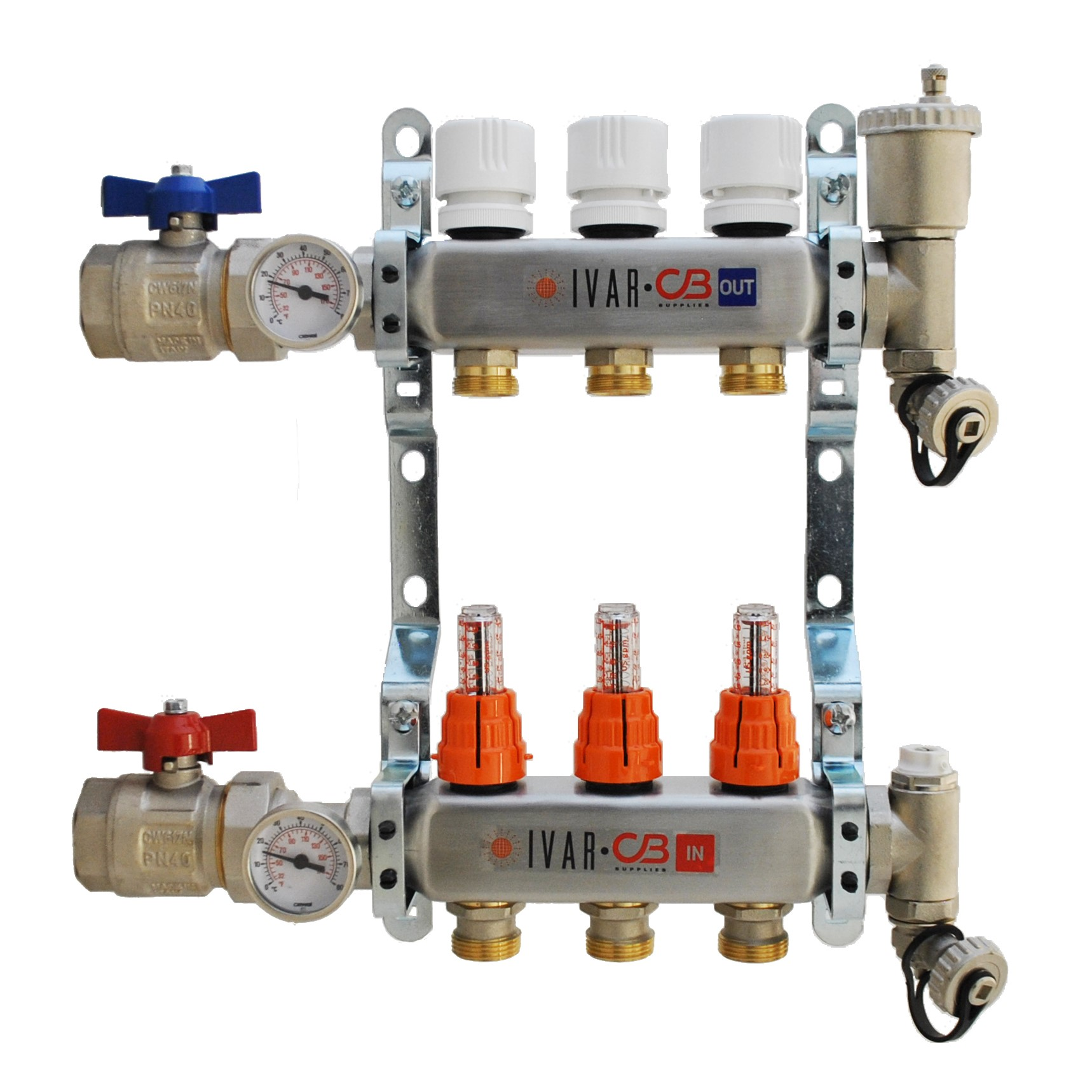 "1"" IVAR Stainless Steel Hydronic Manifold for Radiant Floor Heating - 3 ports"