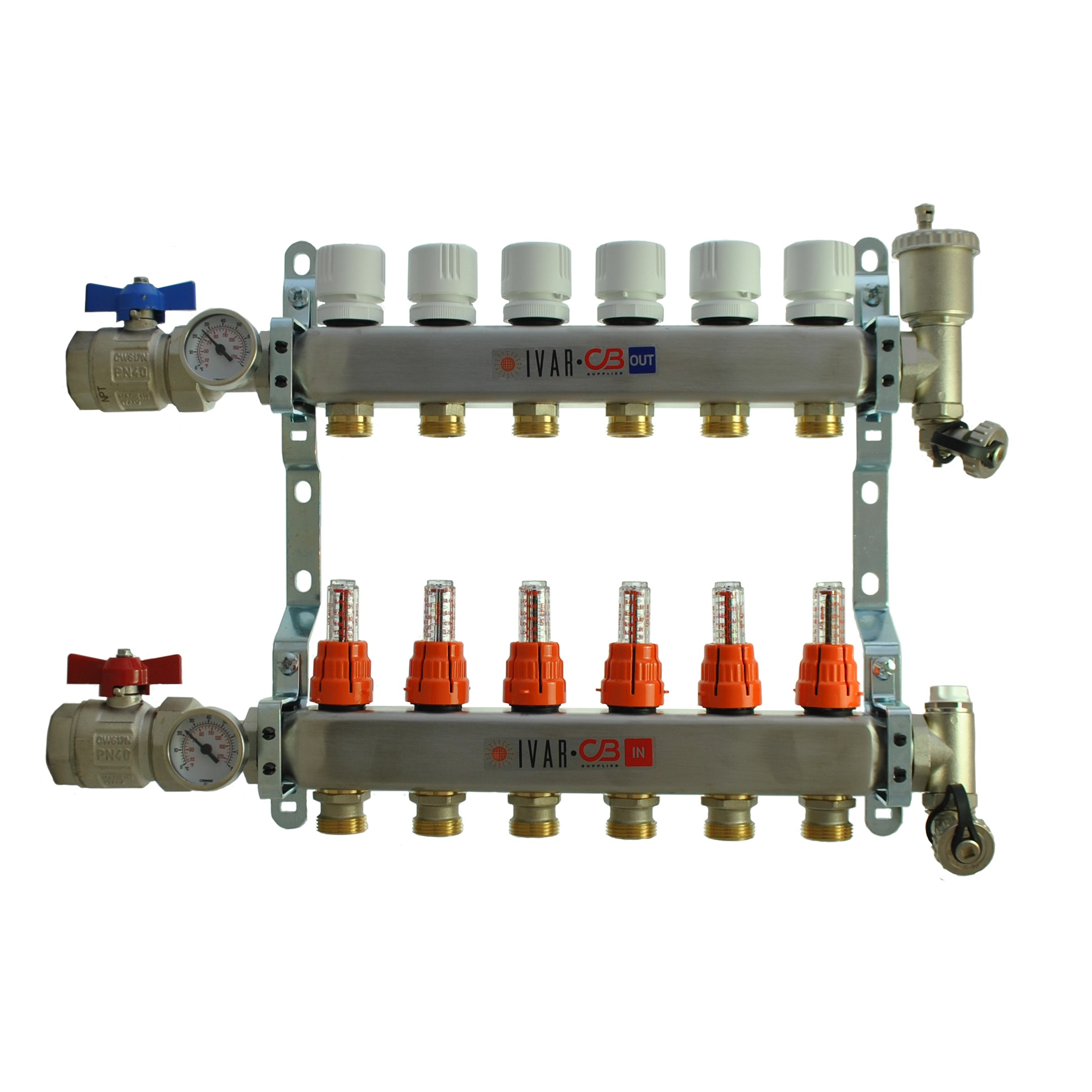 "1"" IVAR Stainless Steel Hydronic Manifold for Radiant Floor Heating - 6 ports"