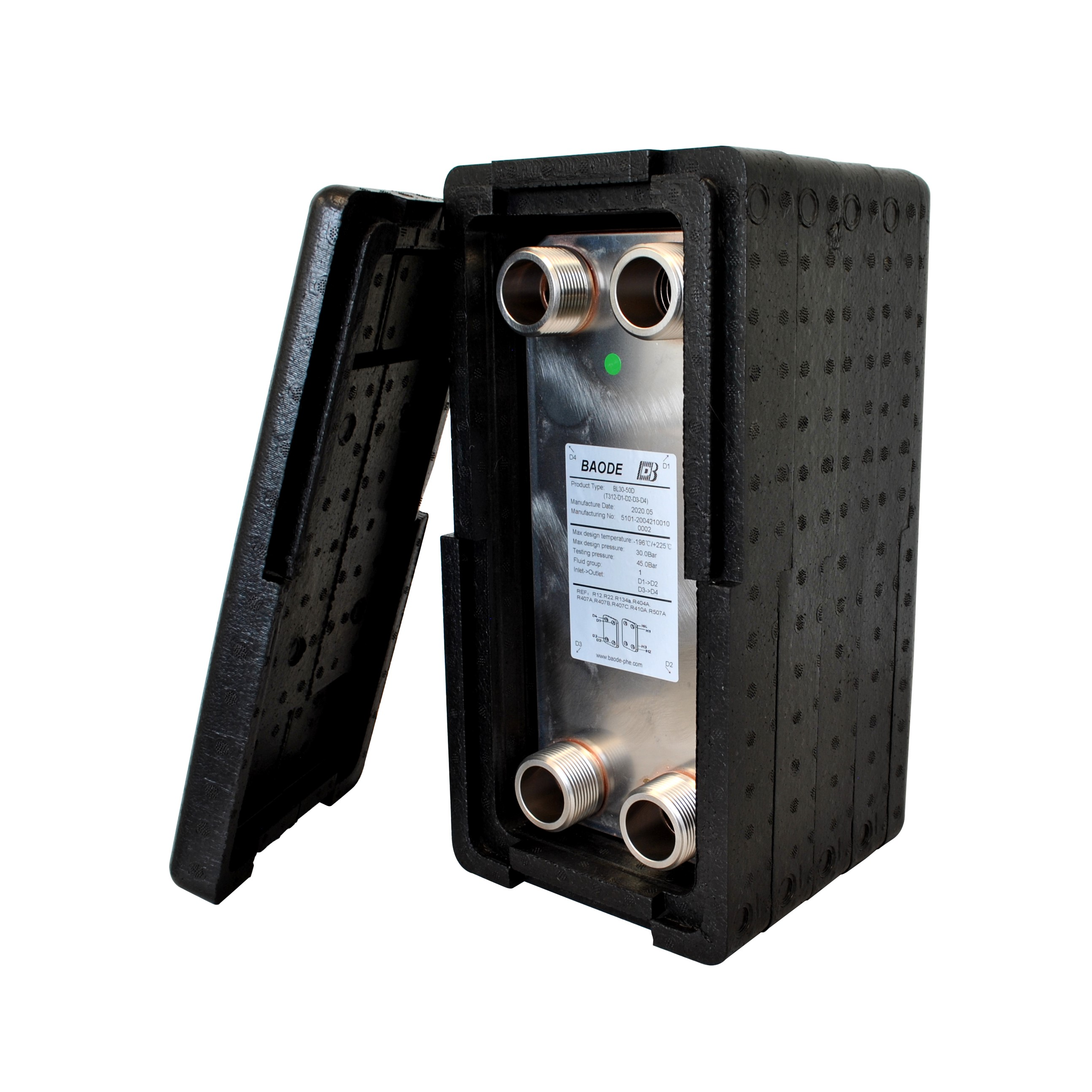 Baode BL26C Flat Plate Heat Exchanger - 50 Plate With Insulation Kit - 1.25""