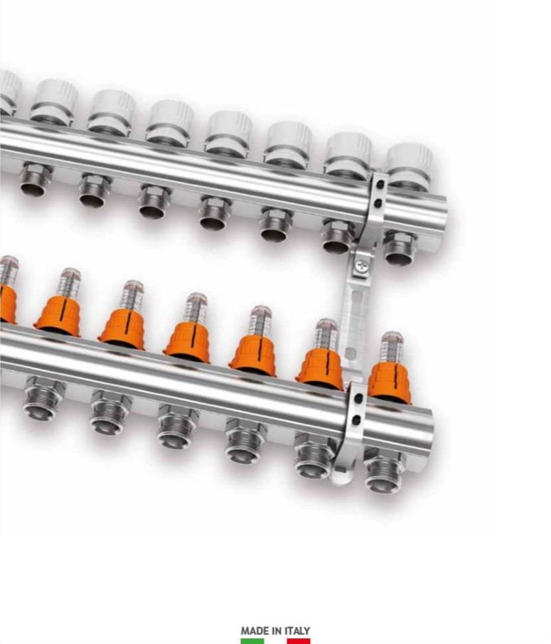 "1"" IVAR Stainless Steel Hydronic Manifold for Radiant Floor Heating - 5 ports"