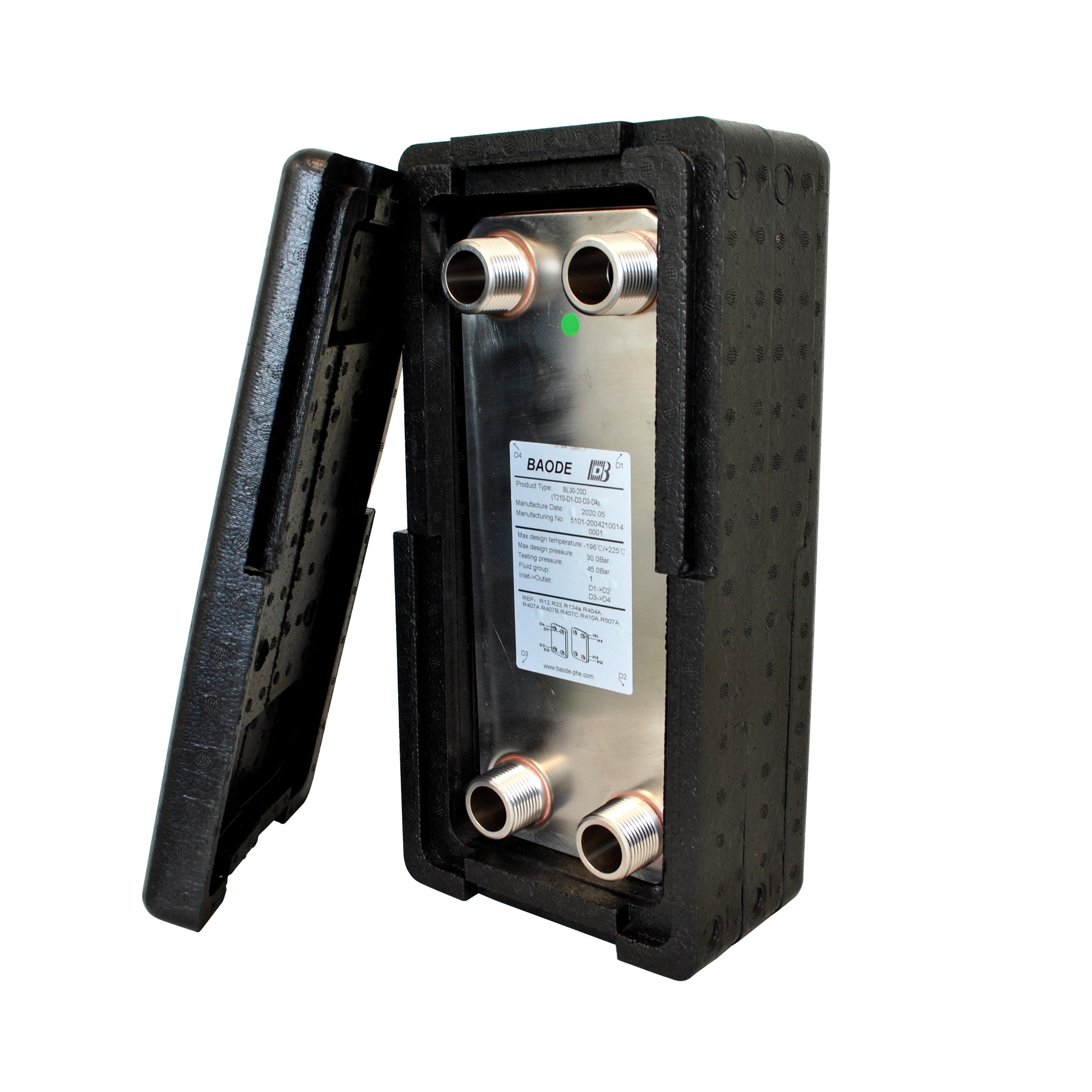 Baode BL26C-20 plate heat exchanger with insulation