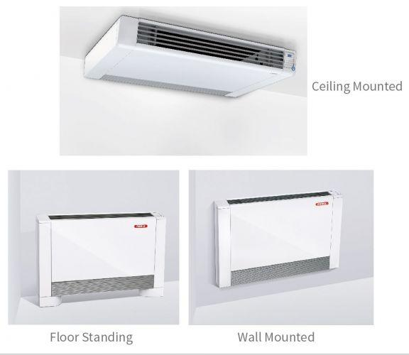 Ultra Thin Hydronic Fan Coil - Heating & Cooling - Water Radiator -100V